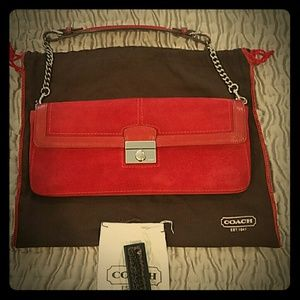 Coach Red Suede mini shoulder bag